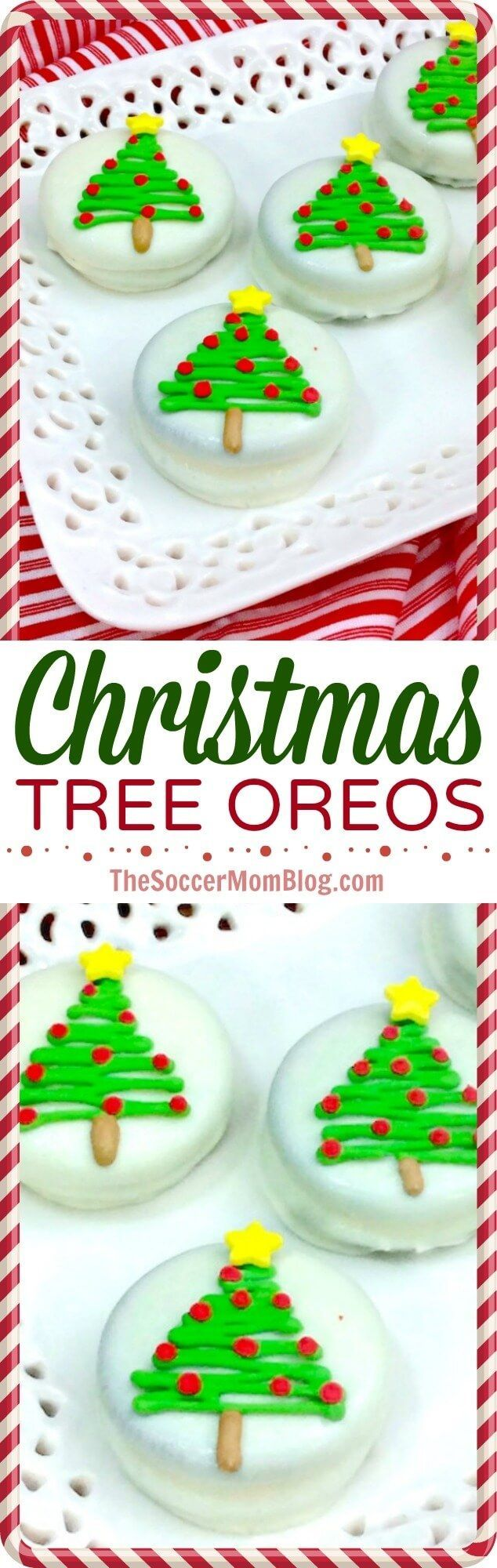 It doesn't get much cuter than this!! Easy chocolate covered Christmas Oreos make a party-perfect treat or holiday gift that kids can make! via @https://www.pinterest.com/soccermomblog