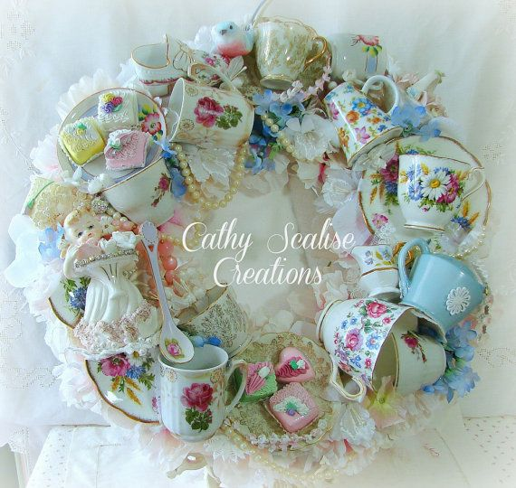Shabby Chic Victorian Vintage Tea Cup and Teapot Bone China Wreath, Lefton Spaghetti Girl,