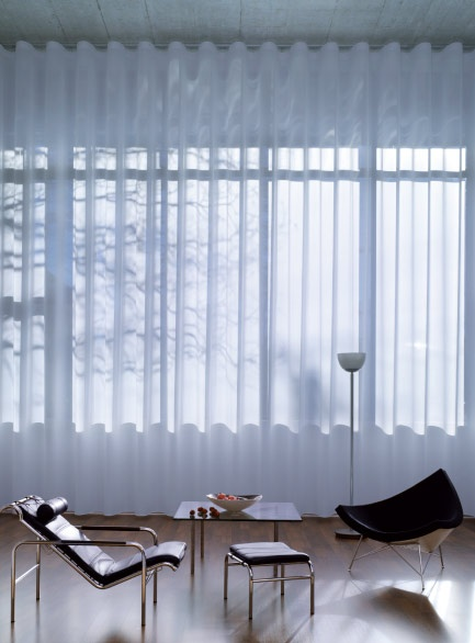 Silent Gliss Wave Curtains, full-height.