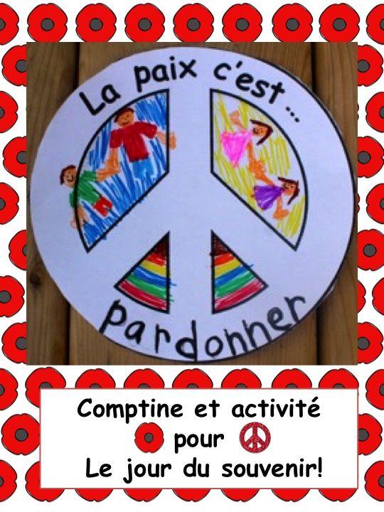 Le jour du souvenir (Comptine et activités pour la paix) French printables