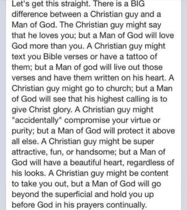 Christian guy vs. Man of God                                                                                                                                                                                 More