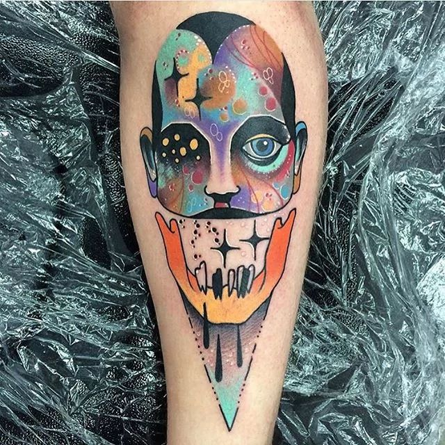 Psychedelic portrait tattoo.