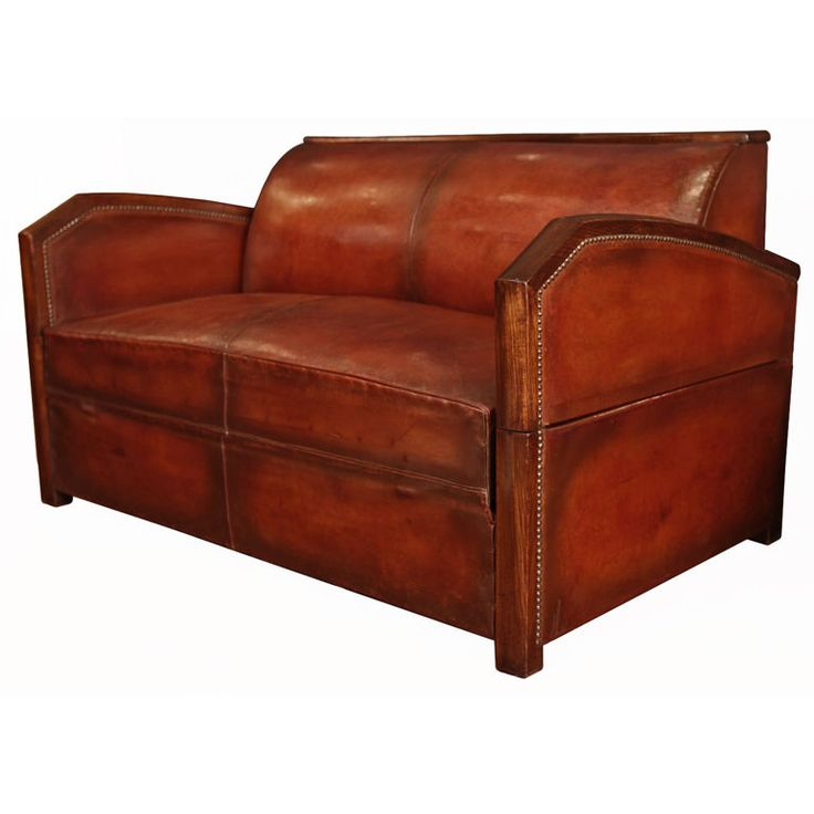 Modern Sofa French Art Deco Period Leather Settee