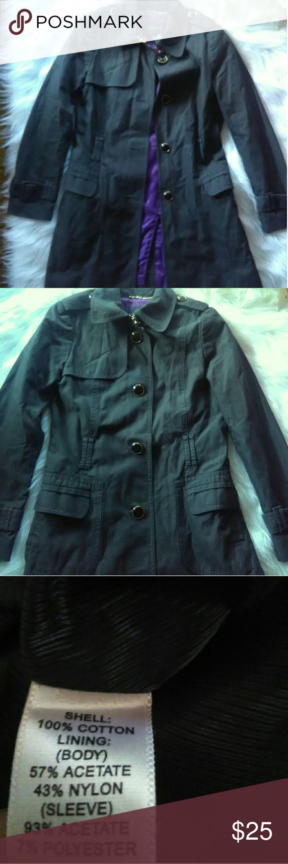 Banana republic trench coat Grey trech coat, beautiful purple on the inside. See pictures for material of coat. XS, petite. Belt for the jack is missing but all the buttons are all in tacked. Banana Republic Jackets & Coats Trench Coats