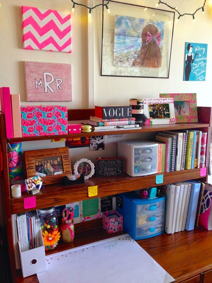 Shelves above a desk is a must! #dorm