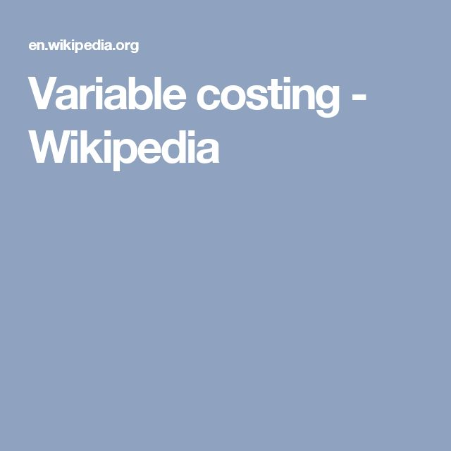 Variable costing - Wikipedia