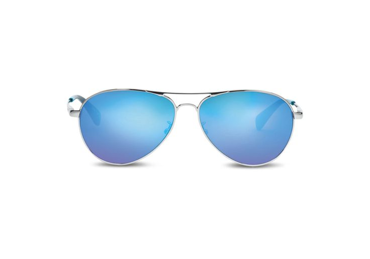 TOMS TOMS Kilgore Silver Pop Blue Sunglasses with Blue Mirror Lens. #toms #all