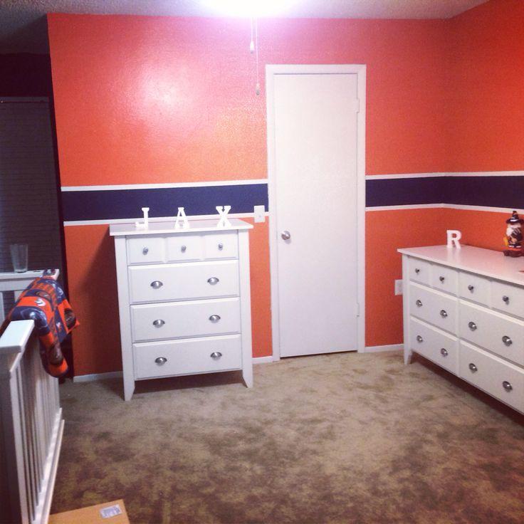 Baby boy orange nursery idea denver bronco colors for Denver broncos bedroom ideas