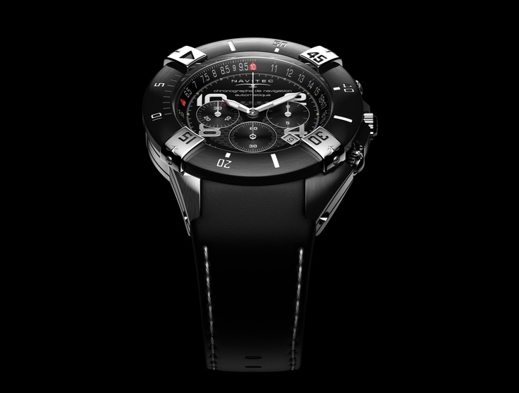 This is the chronograph NAVITEC T C A. Stands for Tango Charly Automatic. It is a Swiss Made Automatic watch, with chronometer fonction and interchangeable bezel system, used by private pilots. $4000  #watch #watches #swisswatch #automaticwatches #navigation #luxury #black #steel #leatherstrap #gents #gentlemen #pilot #navitec