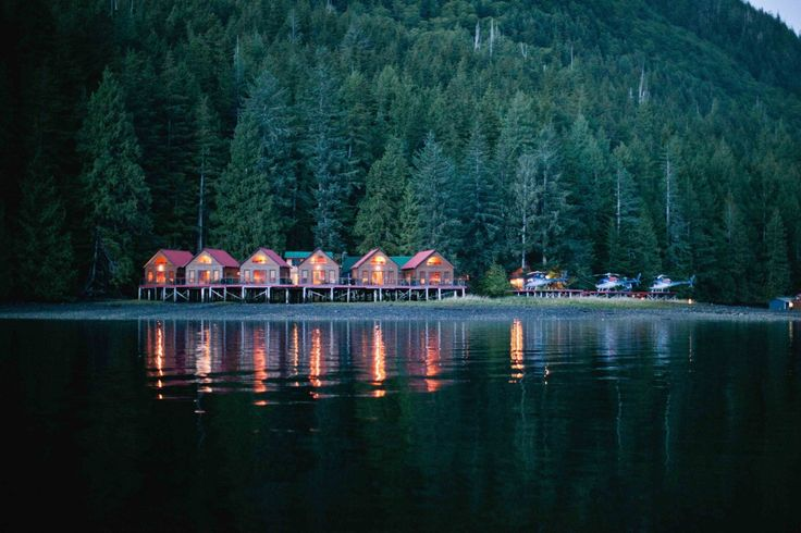 The oceanfront cottages at Nimmo Bay
