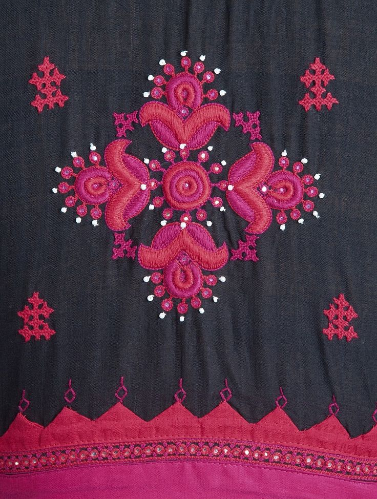 Buy Black Pink Red Embroidered Cotton Blouse by Svasa Apparel Tops & Dresses An Indian Potpourri Handwoven Pure Pieces with Traditional Embroideries Online at Jaypore.com