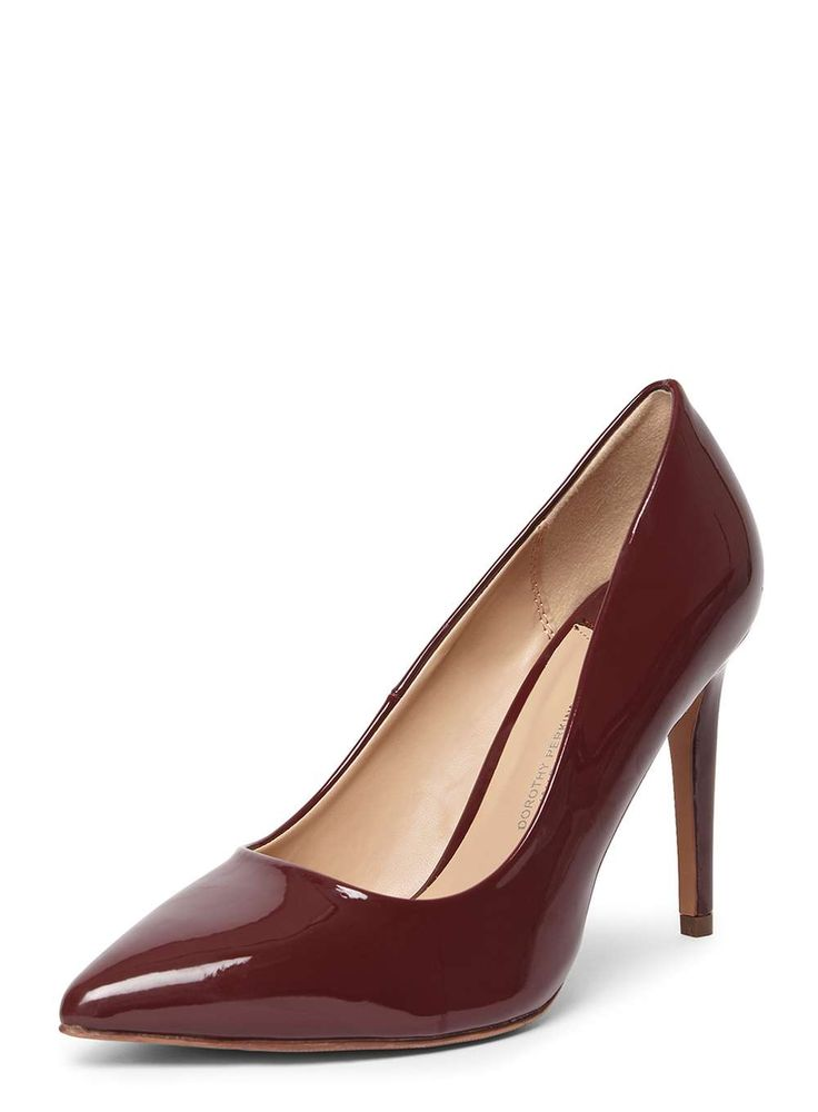 Womens Wide Fit Burgundy Patent 'Emily' Court Shoes- Red