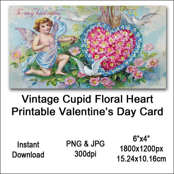 Vintage Cupid Valentines Card Victorian Printable Flower Heart Cherub Clipart Card Instant Download Digital Clip Art Image Vin0016