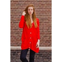 Boyfriend cardigan in bright red by L'Herbe Rouge