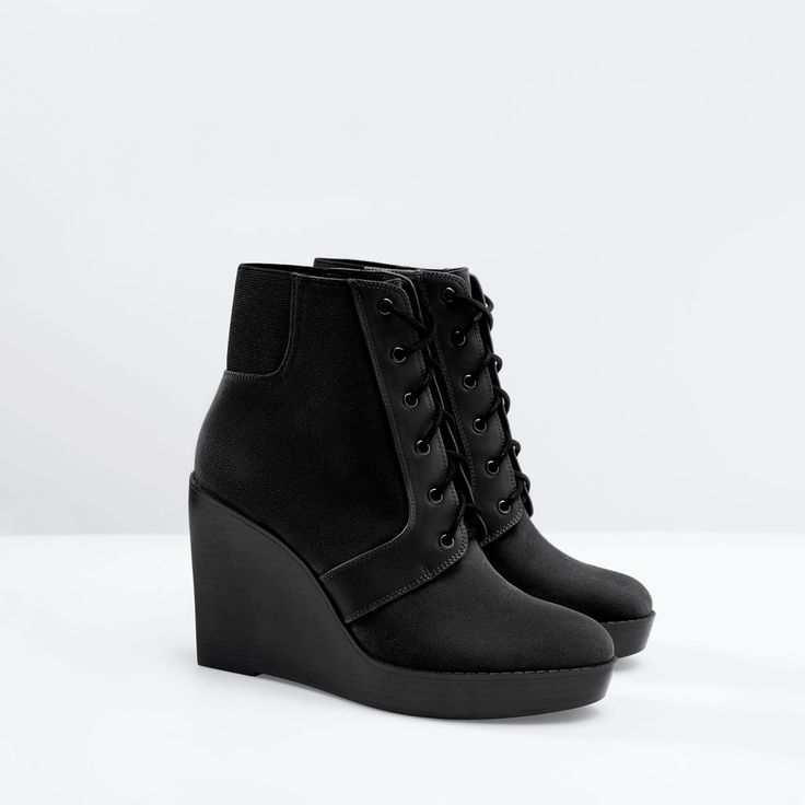 Image 2 of LACE-UP WEDGE BOOTIES from Zara