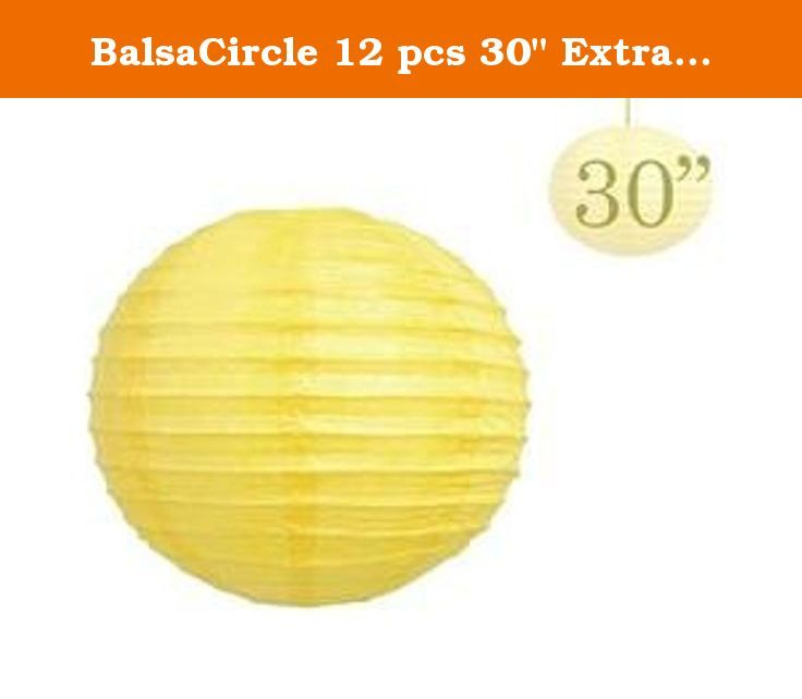 "BalsaCircle 12 pcs 30"" Extra Large Paper LANTERNS Lamp Shades - Yellow. Decorate your special day with our Traditional Chinese Paper Lanterns! Great decoration for wedding, parties or home. Use as lamp shade, softens lighting to a soothing glow. Very easy to setup and they come with instructions. Available in a variety of colors and sizes. Additional Information: * Each order is for 12 Lanterns. * Diameter: 30"" wide. * Material: Rice paper with wire framing. * Expander frame: it is an…"
