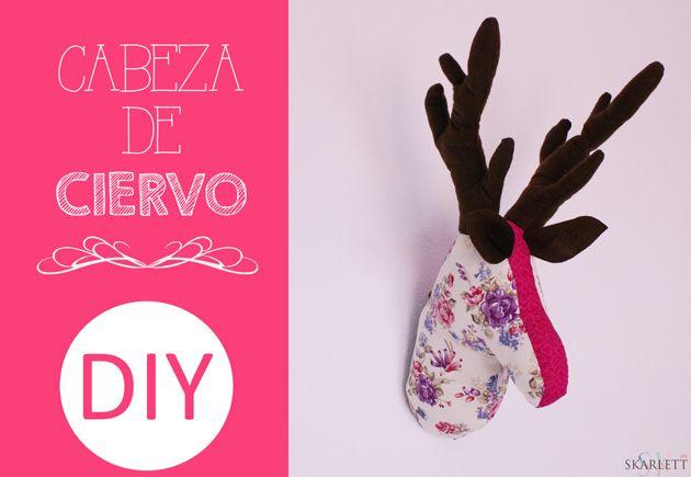 DIY Cabeza de ciervo de tela. Patrón descargable #cabeza #ciervo #tela