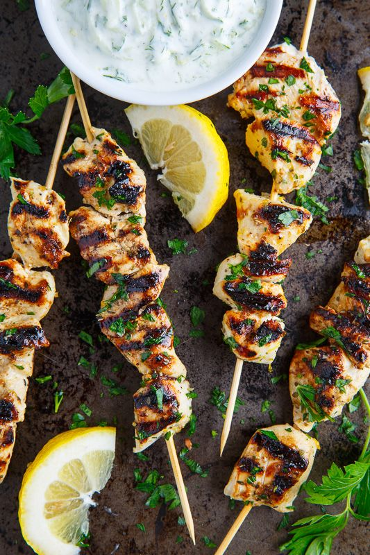 Grilled Chicken Souvlaki. Also includes a recipe for a Chicken Souvlaki Gyro (Pitas stuffed with tasty grilled chicken souvlaki, tomatoes, onions, creamy tzatziki, feta and roasted red peppers.) ♥ Closet Cooking