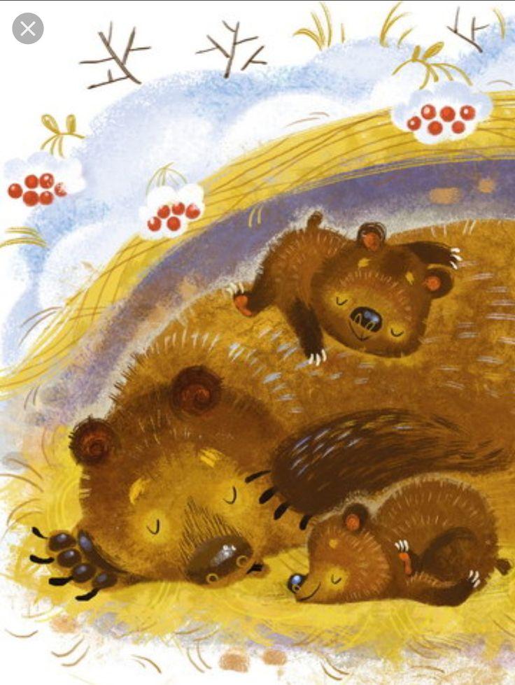 Медведь в берлоге картинка для детского сада
