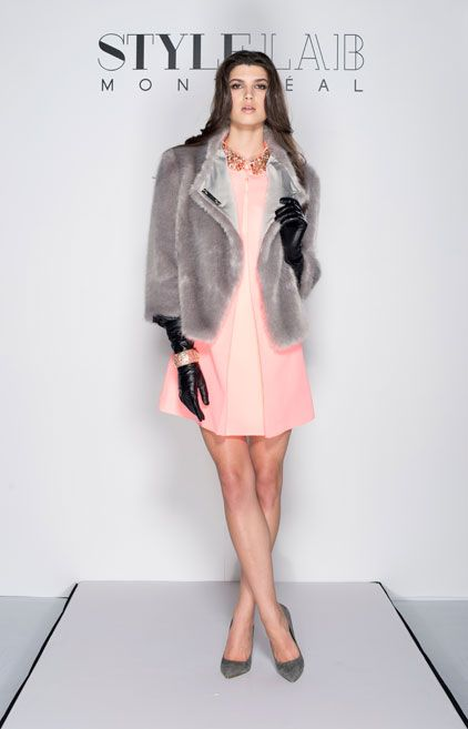#LOTD by #TheMARGINALIST Grey faux-fur jacket – #TedBaker / Pink dress with rhinestone collar – #TedBaker / Bracelet - #CollectionChantaleBeaudet / Leather gloves – #VictoriaXWang