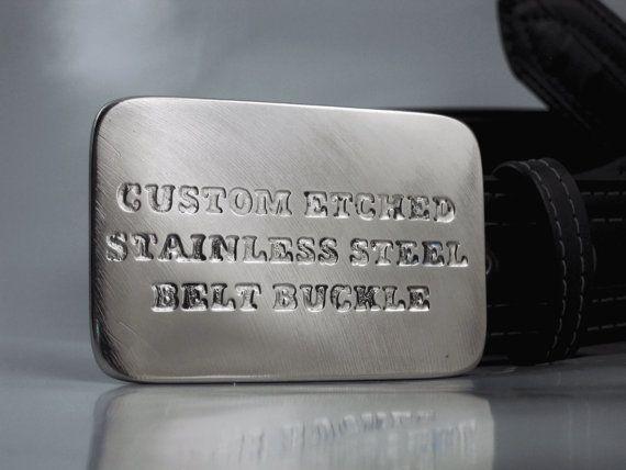 Custom Belt Buckle  Etched Stainless Steel  by RhythmicMetal, $80.00