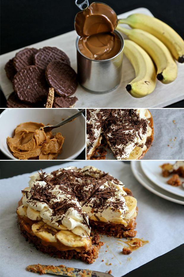Σοκολατένια μπισκότα, καραμέλα, φυστικοβούτυρο, μπανάνες και σαντιγύ. Ναι το τερματίσαμε.