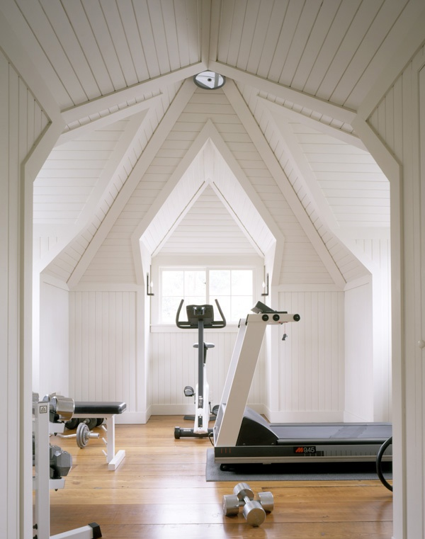 Exercise Room Shiplap Floors Ceiling Dwelling