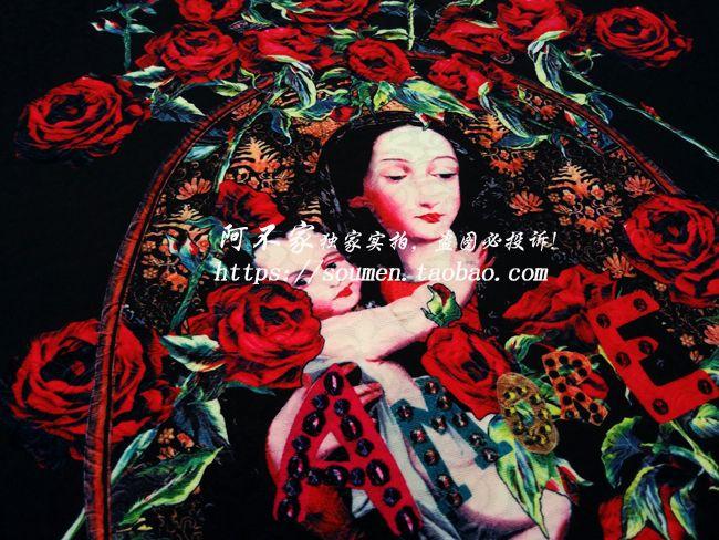 S / F мода старинные розы портрет цифровая печать жаккардовые парча ткань черной ткани для родители потомки доставка детская одежда DIY купить на AliExpress