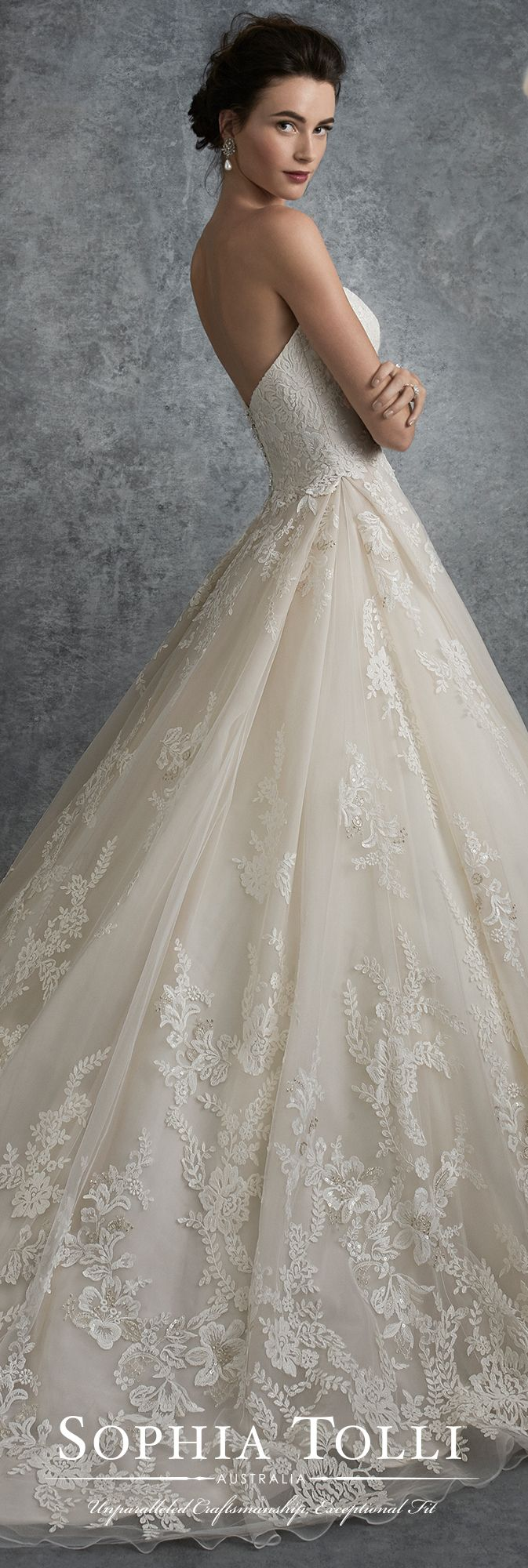 Sophia Tolli Fall 2017 Wedding Gown Collection - Style No. Y21753 Virgo - strapless tulle and lace full A-line wedding dress with chapel length train
