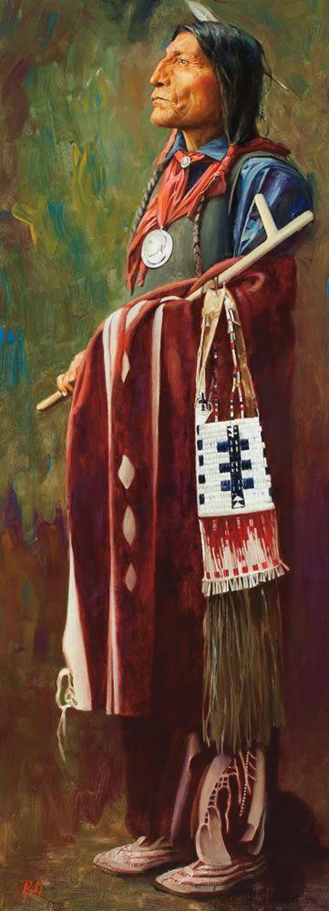 Chief Wolf Robe  Oil by Allen Polt  kp