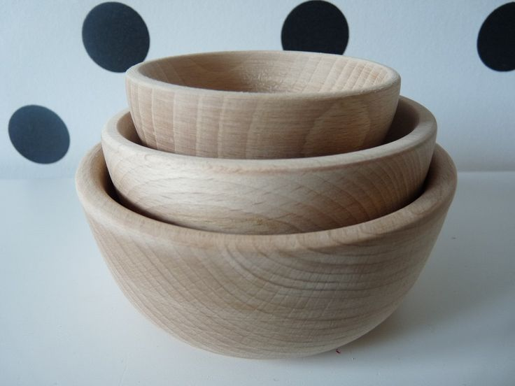 Set of 3 Wooden  Nesting Round Bowls-  Painting, Decorating , Jewlery Bowl, Unfinished Unpainted Untreated Wood Ring Bowls  Wooden bows set by nkcraftstudio on Etsy
