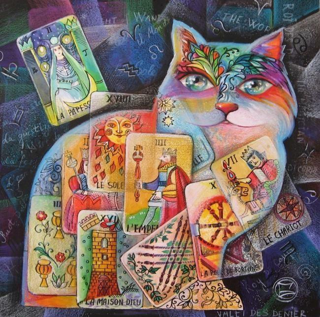 CHAT-TAROT - Peinture,  30x30 cm ©2007 par Oxana Zaika -