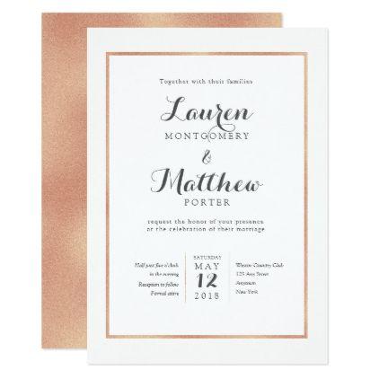 Rose Gold Border Modern Wedding Invitation - gold wedding gifts customize marriage diy unique golden