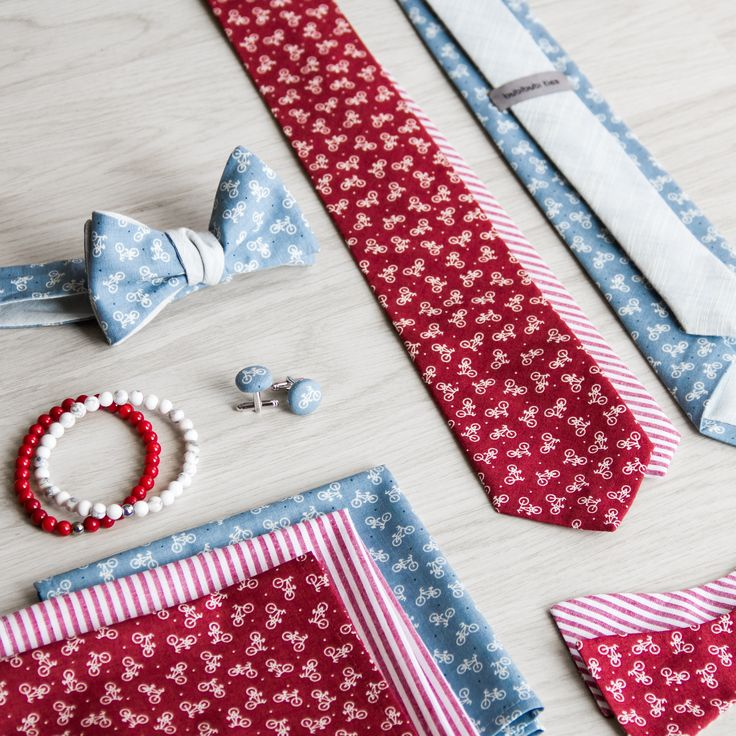 Red and blue bike theme collection of ties, bowties and pocket sqaures.