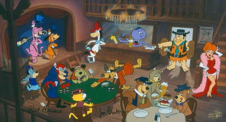 """sarroora: """"  """"Cutting the Deck"""" Hand-Painted Limited Edition Cel Signed by William Hanna and Joseph Barbera. """""""