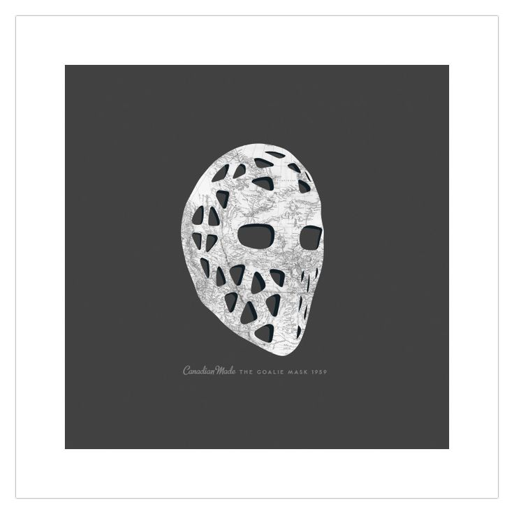 ManMade Art's 'Goalie Mask' vintage edition art poster features an antique map of eastern Canada overlaid on a 1970s era mask. Makes a great gift for men, or decoration for a condo, apartment or man-cave!