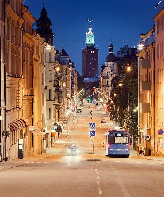 Stockholm night. Hantverkargatan, Kungsholmen.