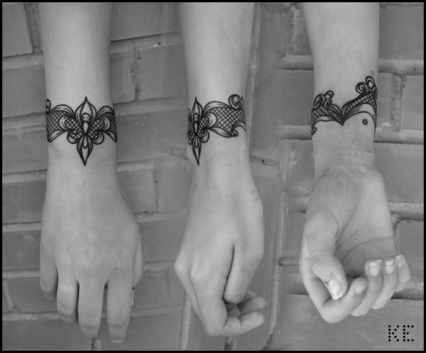 Кружевной браслет. - татуировка фото и эскиз от тату-мастера Карина Тюлеубекова в стиле ,