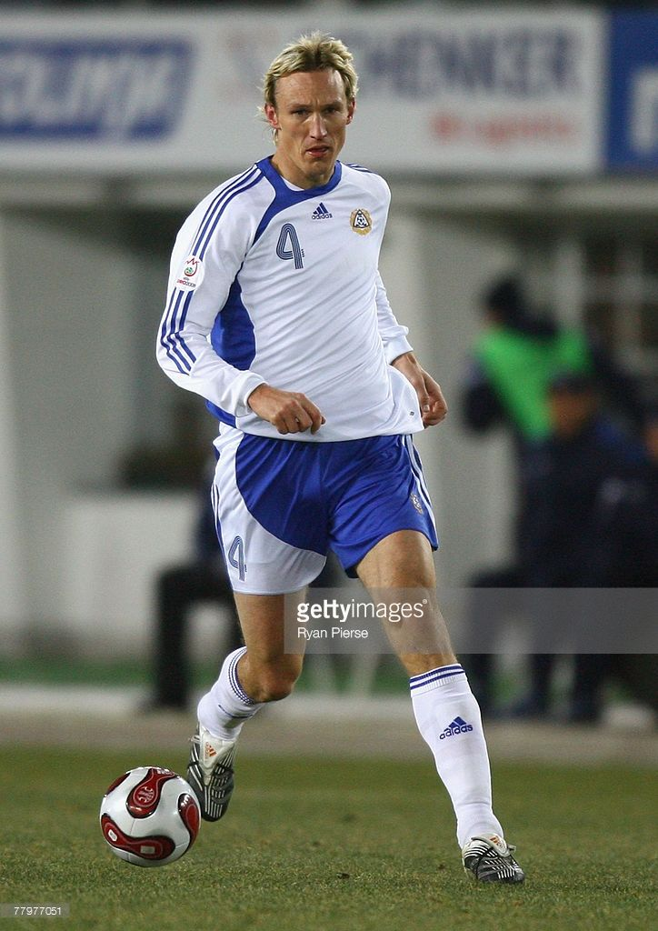 Sami Hyypia of Finland in action during the Euro 2008 Group A qualifying match between Finland and Azerbaijan at the Olympic Stadium on November 17, 2007 in Helsinki, Finland.