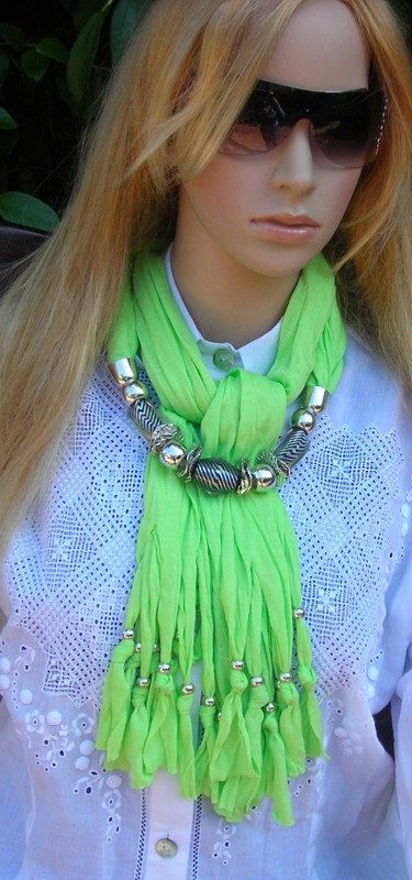Fringe Scarf with Jewelry- Jewelry Scarf- necklace scarf-  green apple- neon colors