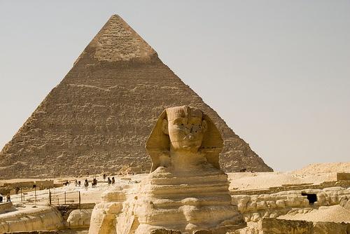 The Great Sphinx with Khafre's Pyramid by marantzer