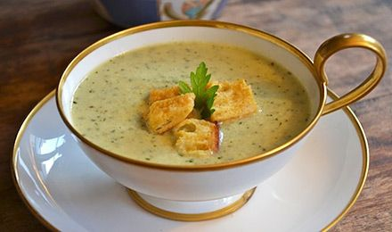 #Maille recipe - Cucumber gazpacho with baked mustard croutons.