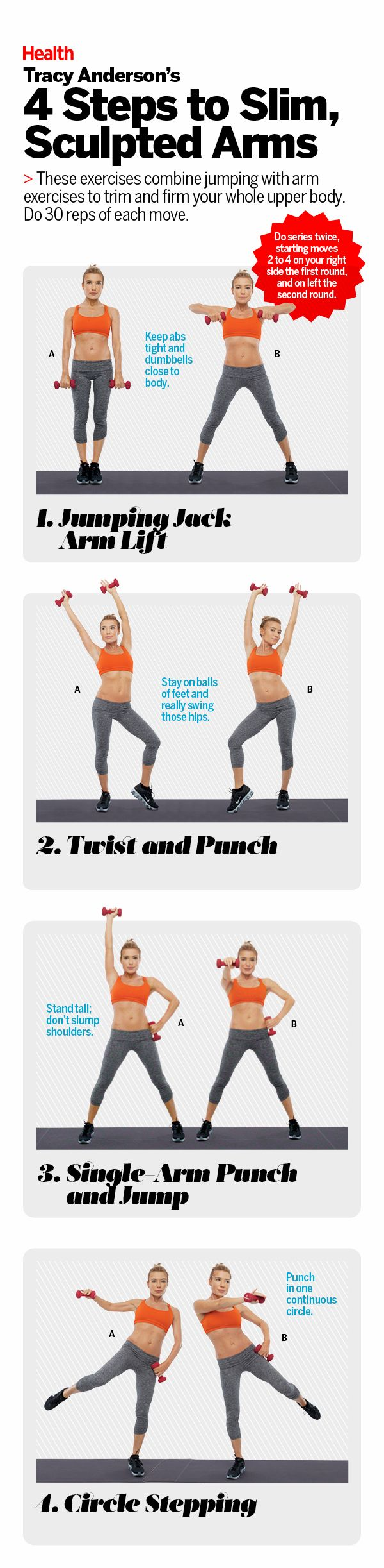4 steps to slim, sculpted arms with Tracy Anderson. These exercises combine jumping with arm exercises to trim and firm your whole upper body. #HEALTHxTA | Health.com
