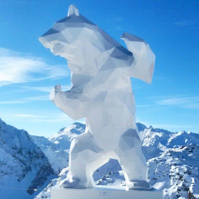 wild bear sculpture in courchevel by richard orlinski