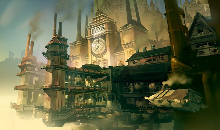 Bioshock Infinite - Finkton Factory Dock, Ben Lo on ArtStation at https://www.artstation.com/artwork/b8ok