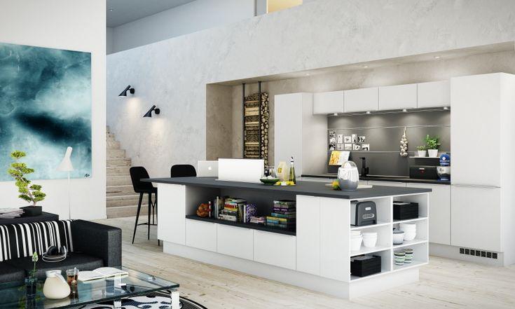 Innred kjøkkenet med en kjøkkenøy eller kokeøy   HTH