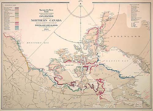 Canada. Department of the Interior, 1904.     This map shows expeditions and costal exploration from 1610 to 1902. Great Britain's territorial claims transferred to Canada in 1880, but Norwegian discoveries around 1902 made Canada realize the importance of confirming its Arctic sovereignty. In 1925, Canada claimed the entire area stretching north to the pole. Norway only surrendered its claim to the Sverdrup Islands in 1931.