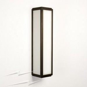 IP44 Mashiko Classic 360 Bronze Rectangular Bathroom Wall Light White Glass Diffuser