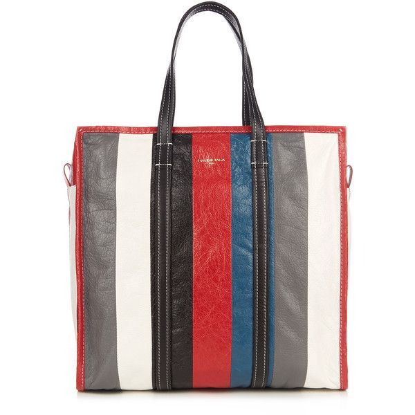 Balenciaga Bazar medium grained-leather tote (€1.445) ❤ liked on Polyvore featuring bags, handbags, tote bags, multi, long purse, stripe tote, balenciaga purse, stripe tote bag and tote bag purse