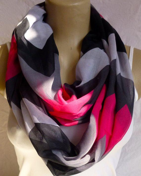 Infinity Scarf Fushia Pink Charcoal Chevron by ShawlsandtheCity, $17.00